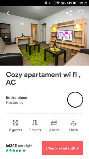 Cazare în București la 2 camere cu 155 lei prin Airbnb