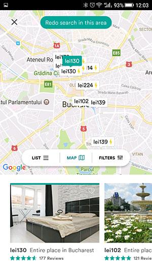 Localizare pe hartă a zonelor de cazare